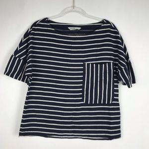 Zara Basic Denim Z1975 Striped Crop Top. Sz Small